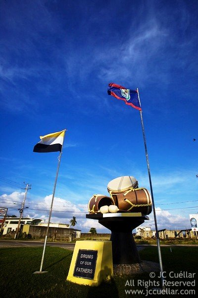 Belize and Garifuna Flag in Dangriga