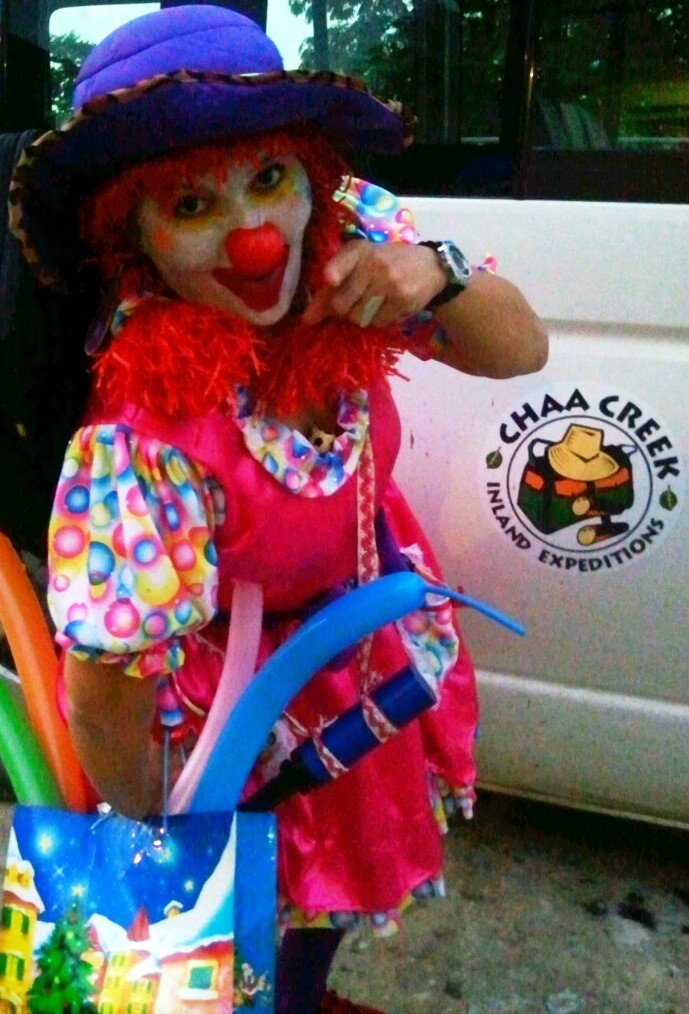 clown gigi at chaa creek's party
