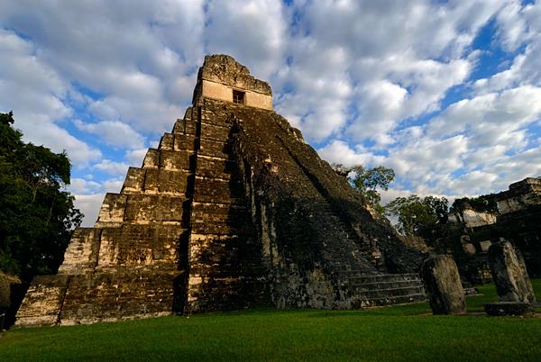 Mayan ruins in Tikal, view of Temple I, Jaguar Temple, on the Gran Plaza, Yucatan, Guatemala, Central America