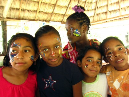 Face painting for some of the lucky ladies
