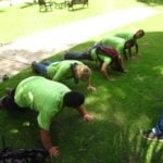 Team Howler monkeys doing pushups to warm up for lunch