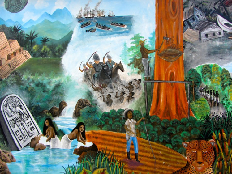 Mural-painting-at-San-Ignacio-Belize