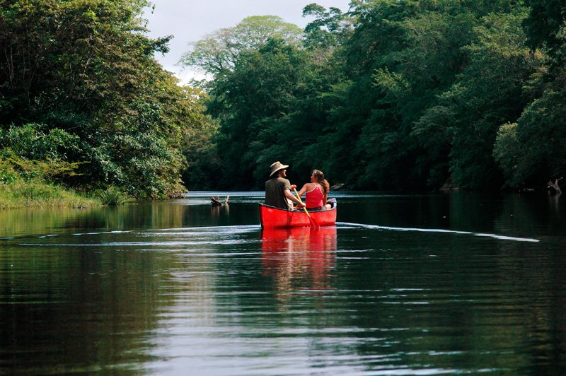 Canoe down the meandering Macal River in Belize!