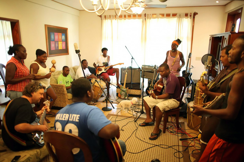 Ivan Duran rehearsing with The Garifuna Collective