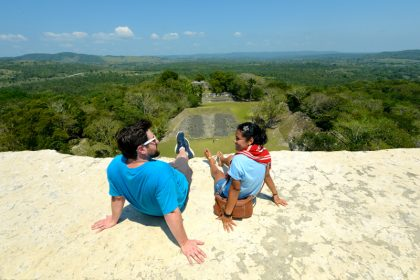 "Picnic at the very top of ""El Castillo"" at Xunantunich!"