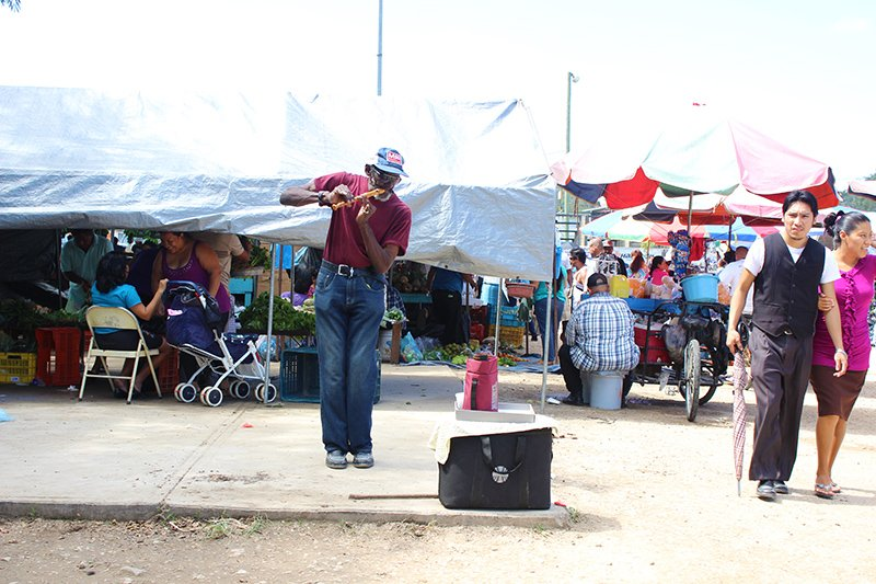 A Local Musician playing his flute at the San Ignacio Market Day