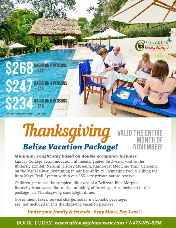 The Best Belize Thanksgiving Vacation Package!