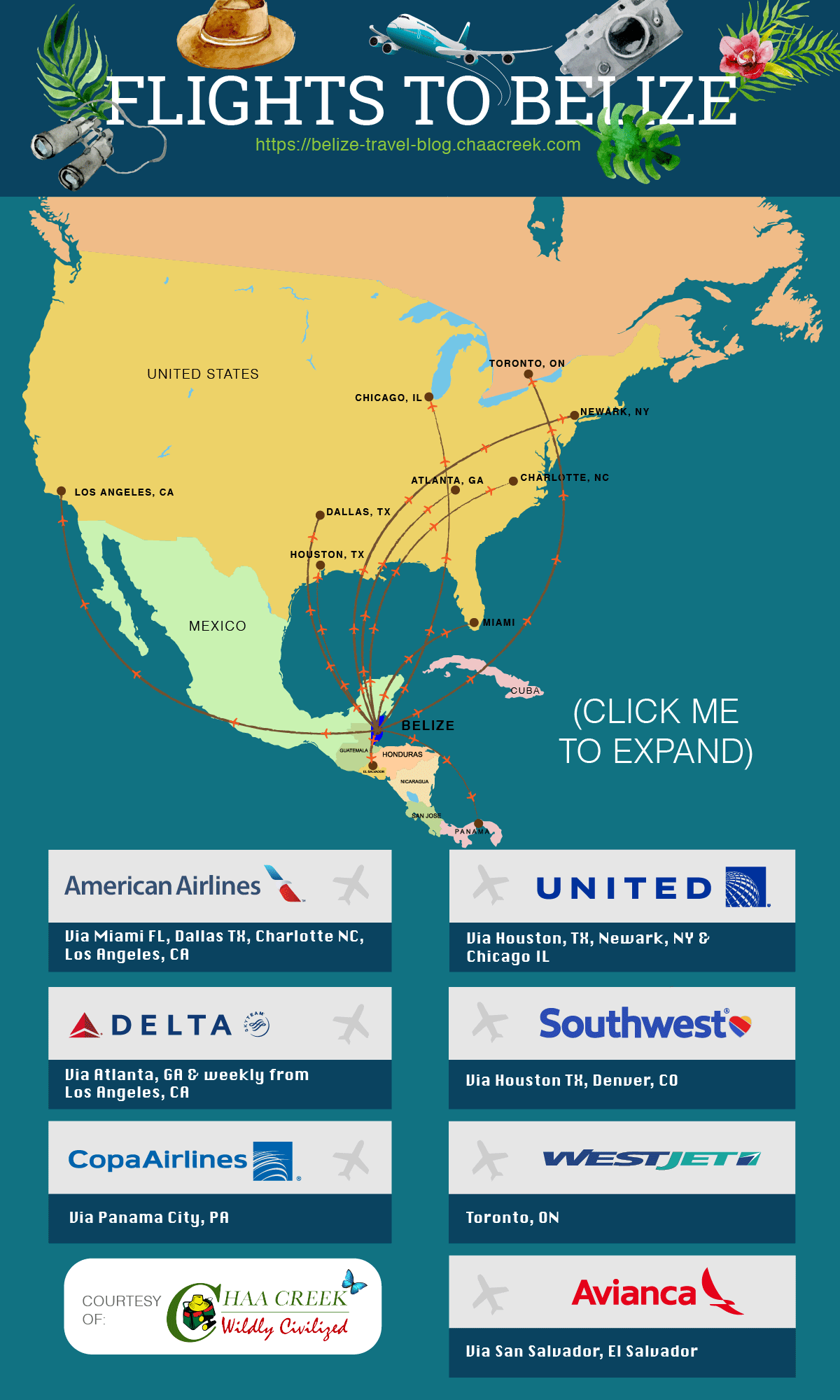 flights_to_belize_infographic_schedule_travel_guide_chaa_creek_expand