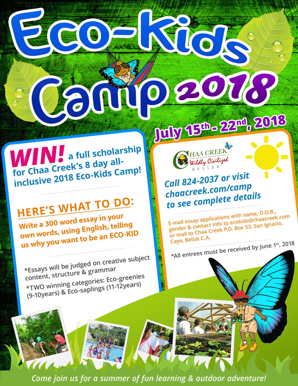 Belize Eco Kids Summer Camp 2018 Flyer