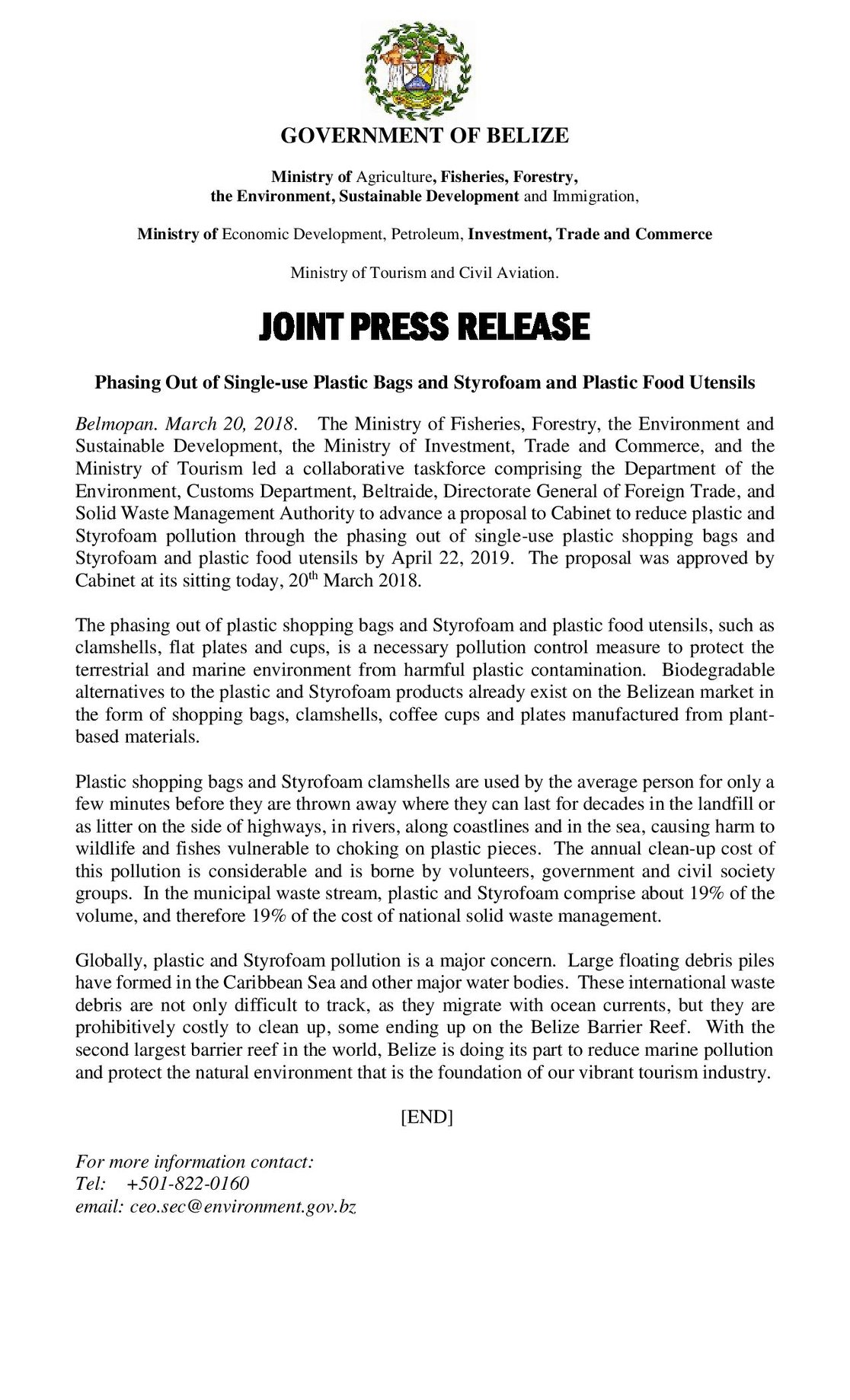 Belize styrofoam ban press release 2018
