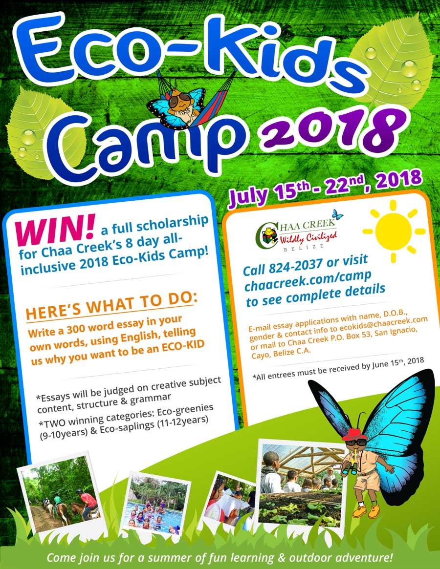 Eco Kids Summer Camp Chaa Creek 2018 Flyer New