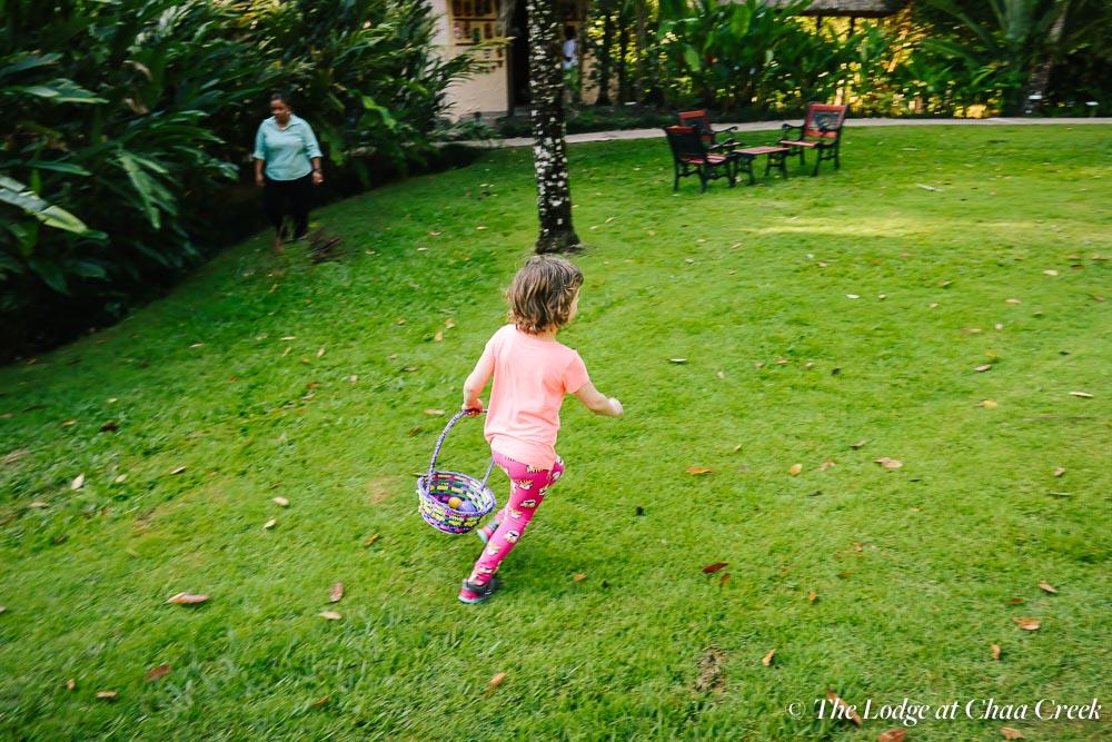 Easter egg hunt running chaa creek