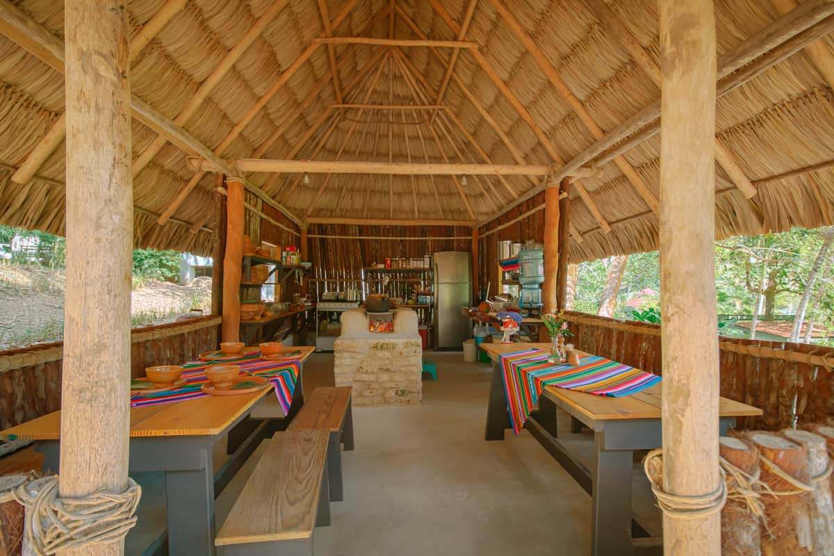 chaa creek open hearth belize cooking classes hut interior