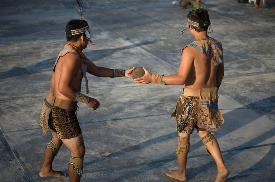 belize maya pok-a-tok ball game players