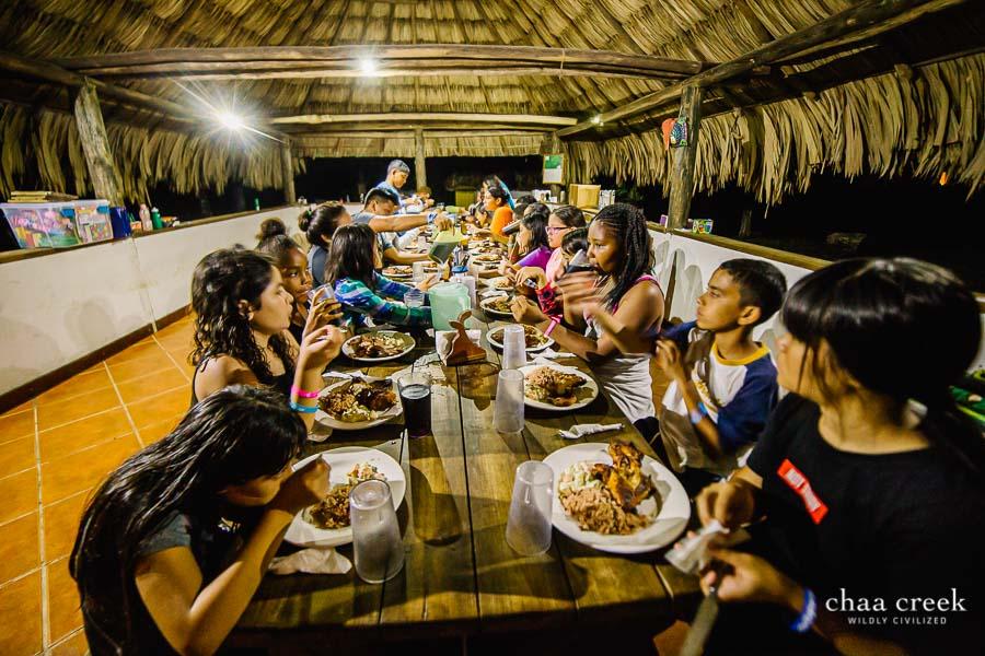 eco kids summer camp 2019 day 7 kids having dinner