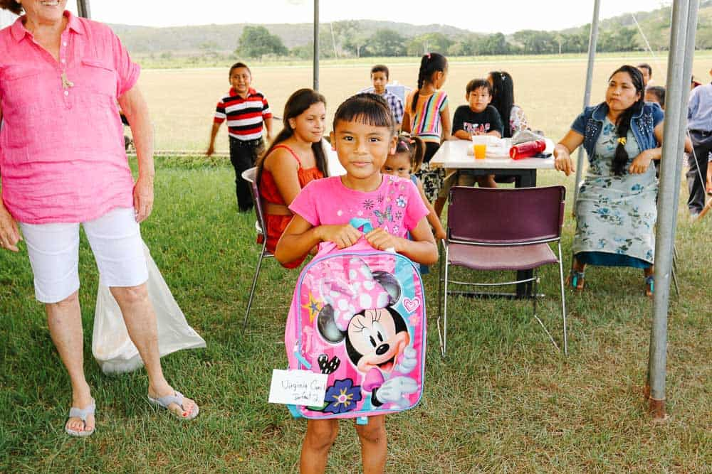 chaa creek corozalito funday girl posing with school bag