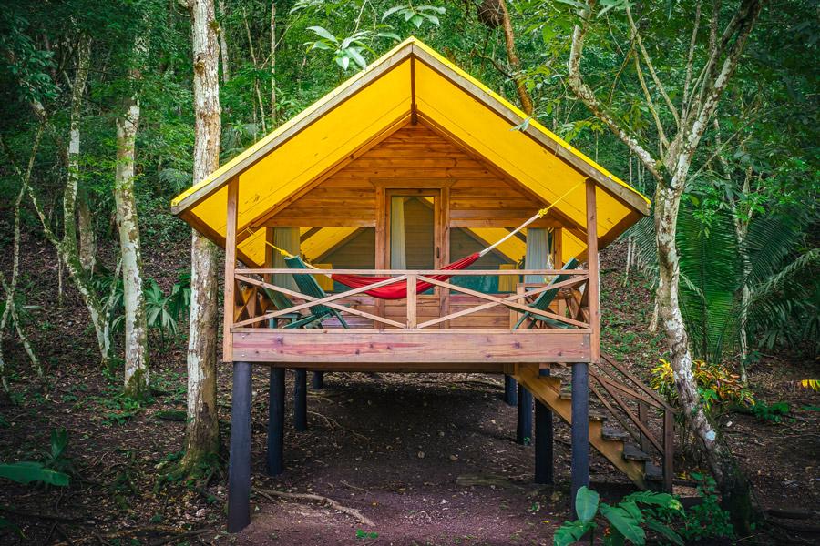 front of eco pods at belize rainforest retreat