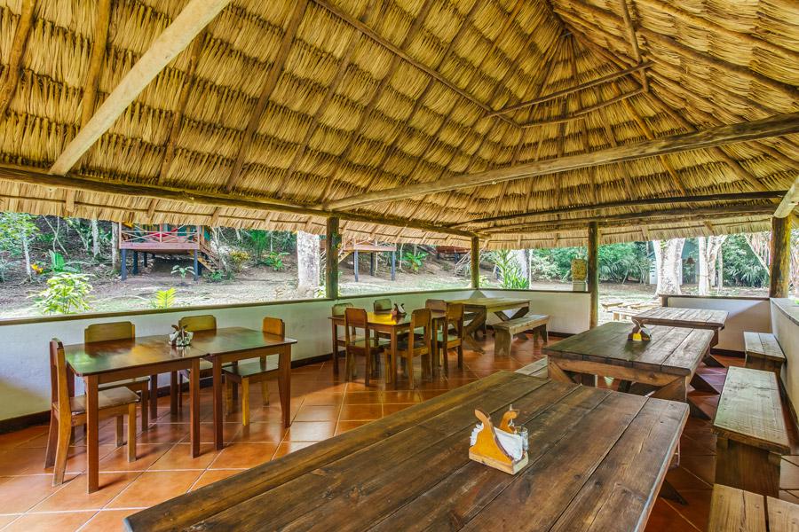 belize rainforest retreat restaurant palapa interior